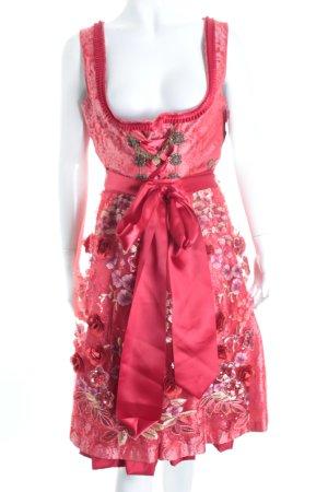 MarJo Dirndl rot-dunkelrot florales Muster Eleganz-Look