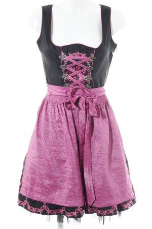 MarJo Dirndl schwarz-pink Blumenmuster extravaganter Stil