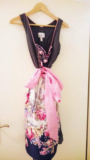 MarJo Trachten Dirndl in dunkelblau mit Punkten und Schürze in pink rosa mit Blumen
