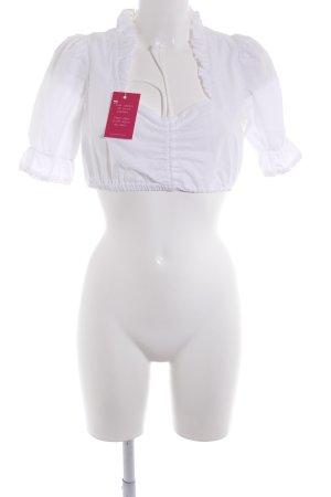 MarJo Folkloristische blouse wit klassieke stijl
