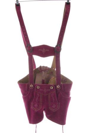 MarJo Pantalón de cuero tradicional rosa estilo extravagante