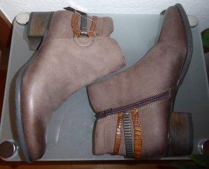 Mark Adam Leder Stiefelette Ancle Boots 40 Braun Neu OVP