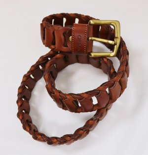 Braided Belt brown-cognac-coloured leather