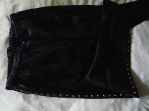 Marke: Twin Set: Leder Röhre - Gr. S schwarz mit seitlichen Nieten
