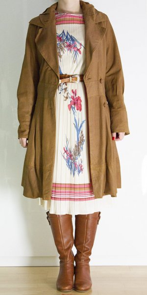 Apart Between-Seasons-Coat bronze-colored leather