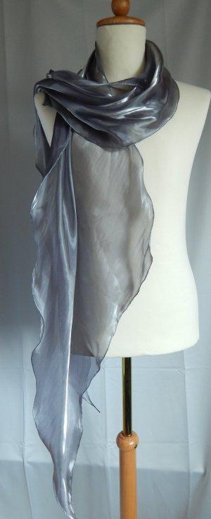 markenlos,festlicher Schal,lang,Wellensaum,Chiffon,transparent,silberfarben
