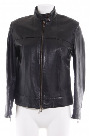 Marks and Spencer Lederjacke schwarz Vintage-Look