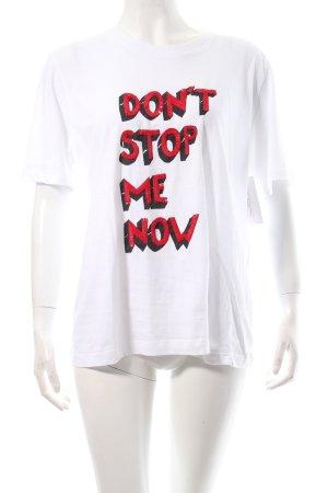 Markus Lupfer T-Shirt weiß-rot Schriftzug gedruckt Street-Fashion-Look
