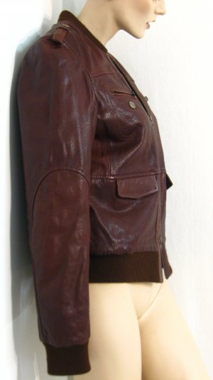 Marlboro Veste en cuir brun rouge cuir