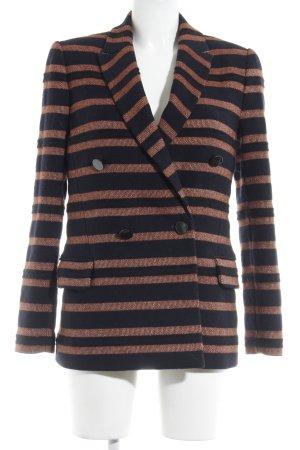 Marlene Birger Blazer de lana azul oscuro-coñac estampado a rayas look casual