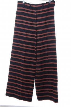 Marlene Birger Woolen Trousers dark blue-cognac-coloured striped pattern