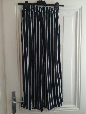 H&M Pantalon taille haute blanc-bleu foncé