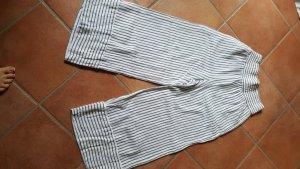 Mango Hoge taille broek wit-donkerblauw
