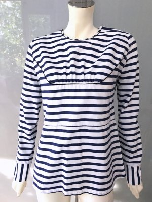 Marni Bluse Top Blau Weiß Gestreift 36 Baumwolle Langarm Shirt Striped Blue S