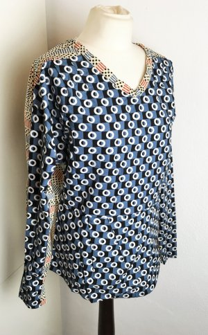 * MARNI for H&M * langarm TOP BLUSE Muster Blau Kreise Schleife  Gr 40 M L