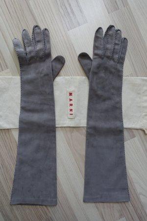 MARNI Handschuhe aus Calf Leder, wunderbar weich, mittelgrau, Größe 8,  extra lang !!
