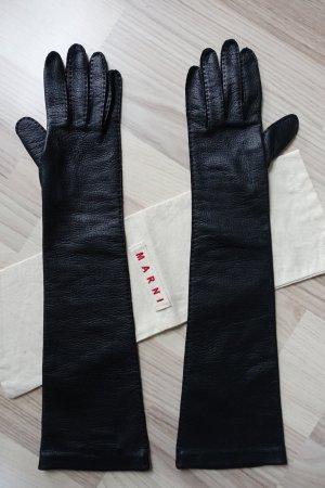 MARNI Handschuhe aus Cervo Leder, wunderbar weich, schwarz, Größe 8,  extra lang !!