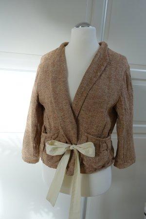 MARNI Jacke, aus grob gewebtem Leinenstoff, kurze Jacke mit Bändern zum Schnüren, ital. 46 oder EUR 42