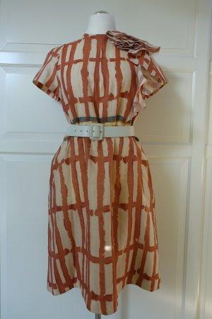 MARNI Kleid im Vintage Stil, in rost-orange und beige, mit MARNI Gürtel in weiß ++KOMBIAKTION++
