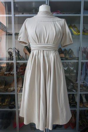 MARNI Kleid in Naturfarbe, hoher Kragen, tiefer Rückenausschnitt, spektakulärer, schwingender Rockteil !! ital. 42/EUR 38 oder 40