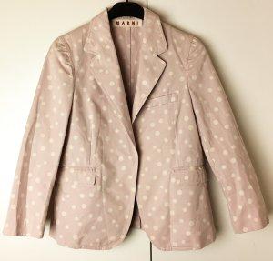 * MARNI * KURZ BLAZER Baumwolle blass rosa / flieder Punkte weiß Gr 38 / it.44