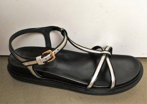 * MARNI * NEU ! SANDALEN flach Leder schwarz silber Riemchen  Gr 41  UK 7,5 / 8