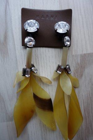 MARNI Ohrclips in gelb, aus Kristallen und Horn, super funky !!