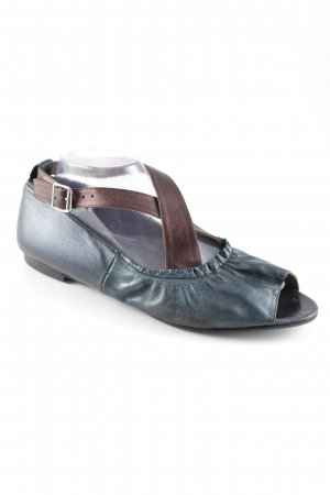 Marni Peeptoe Ballerinas kadettblau-braun Metallic-Optik