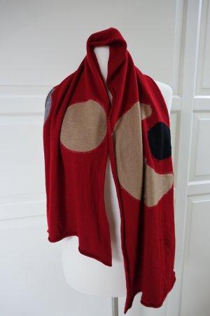 MARNI Schal aus Baumwolle, in rot mit Applikationen, & fingerlose Handschuhe von MARNI, aus Wolle ++KOMBIAKTION++