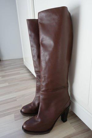 MARNI Stiefel aus Leder in dunkelbraun, mit griffiger Plateausohle, Gr. 41