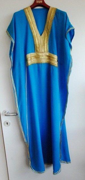 Caftán azul neón-color oro Viscosa