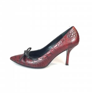 Prada Sandalo con tacco alto rosso scuro