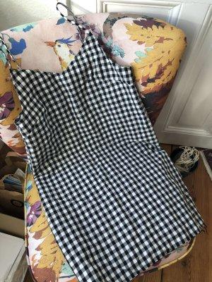 Marques`Almeida Minikleid Größe M in Schwarz Weiß kariert Karo-Kleid Spaghetti Träger Kleid Vichy