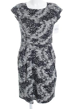 Marvin Browne Midi Dress black-white flower pattern elegant