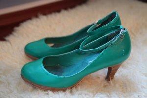 Mary Jane Absatzschuhe, grün, Echtleder
