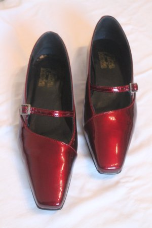 Alba Moda Mary Jane Ballerinas dark red leather