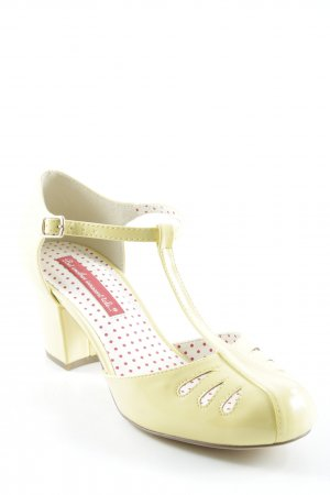 Mary Jane Pumps blassgelb Vintage-Look