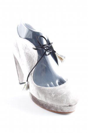 Mary Jane Pumps silver-colored velvet appearance