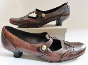 Mary Jane T-Strap Pumps Marco Tozzi Größe 41 Braun Cognac Antik Look Leder Budapester Patina Schuhe Viktorianisch Trotteur