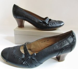 Janet D Mary Jane pumps zwart-lichtbruin Leer