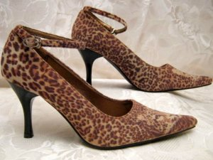 Maryjanes 36 Leoparden-Fell-Optik Velours Pumps Braun Animal
