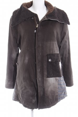 Maryley Parka marrone-nero spina di pesce stile  materiale misto