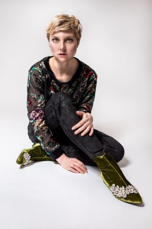 Maryley Samt Shirt semitransparent, Ausbrennermuster, floral neu Gr. 36