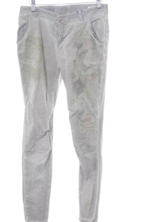 Maryley Skinny Jeans hellgrau abstraktes Muster Casual-Look