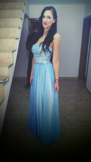 Mascara  Abendkleid mit Zierstein- und Paillettenbesatz - Hellblau