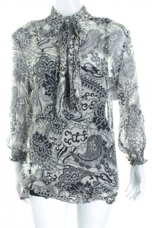 Masons Tie-neck Blouse black-cream paisley pattern casual look