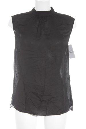 Massimo Dutti ärmellose Bluse schwarz Elegant