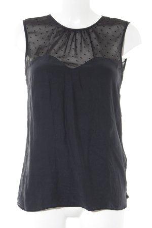 Massimo Dutti ärmellose Bluse schwarz Punktemuster Elegant