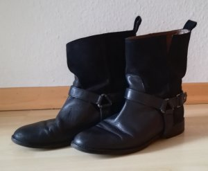 Massimo Dutti Biker Boots / Stiefelletten, Echtleder, schwarz, Gr. 39