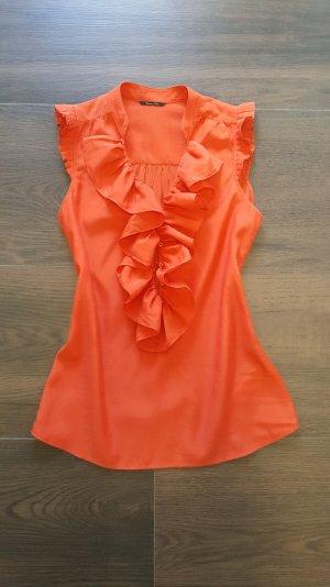 Massimo Dutti Bluse 36/S rot orange Rüschen ärmellos